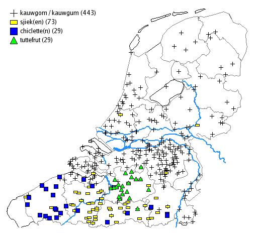 kaart Kauwgom