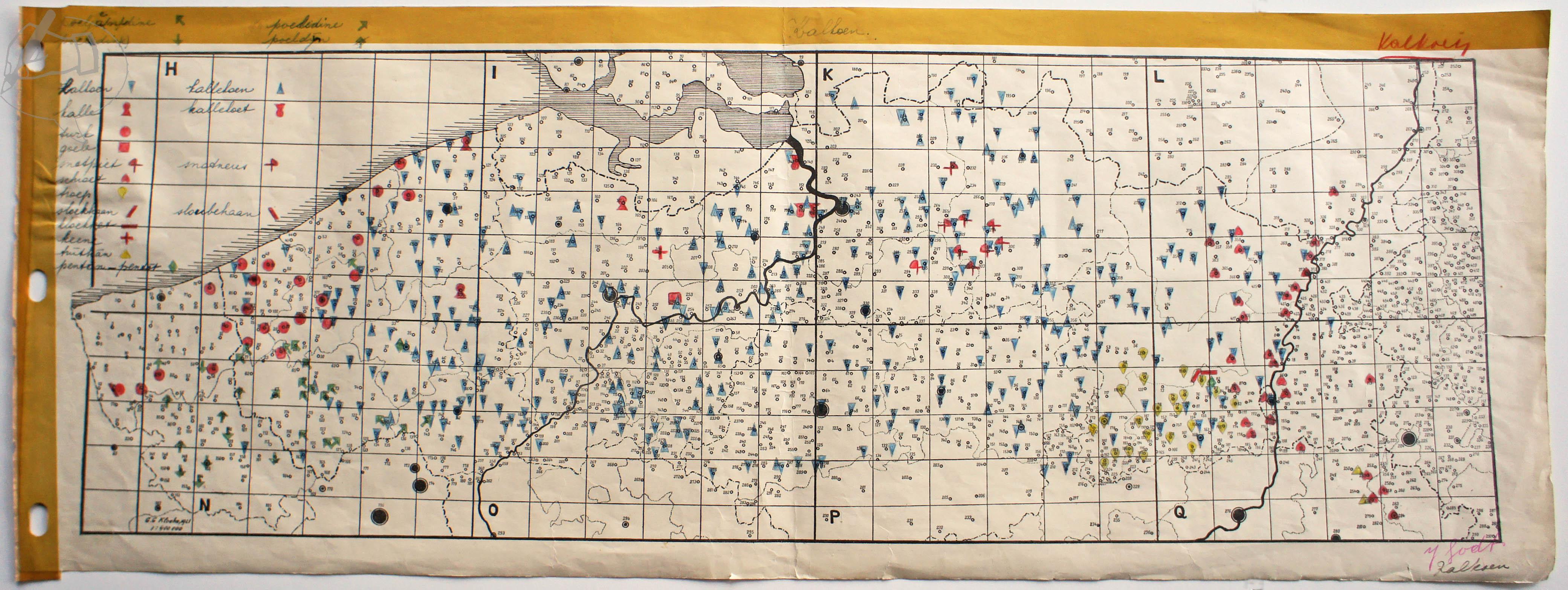 Kaart dialectwoorden kalkoen