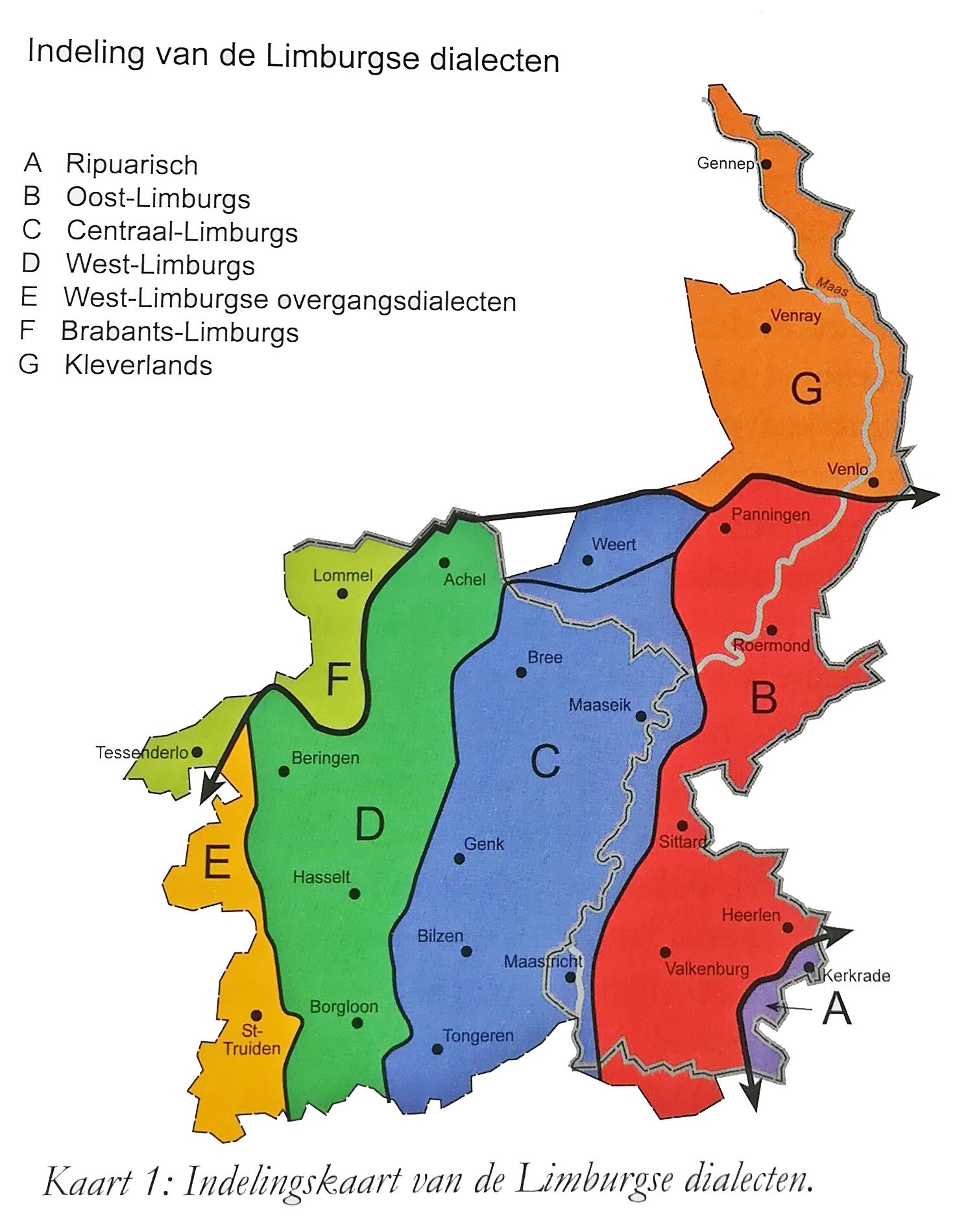 Indelingskaart van de Limburgse dialecten