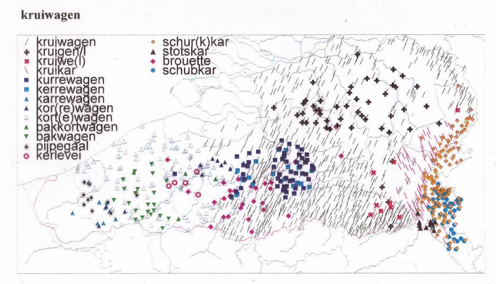 De dialectwoorden voor 'kruiwagen' in het Zuid-Nederlands
