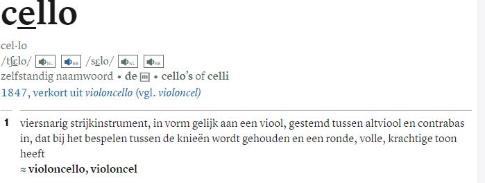 cello in Van Dale
