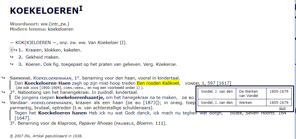 Vondels kalikoet in het Woordenboek der Nederlandsche Taal