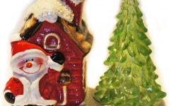 Sneeuwman, kerstboom en kersthuisje