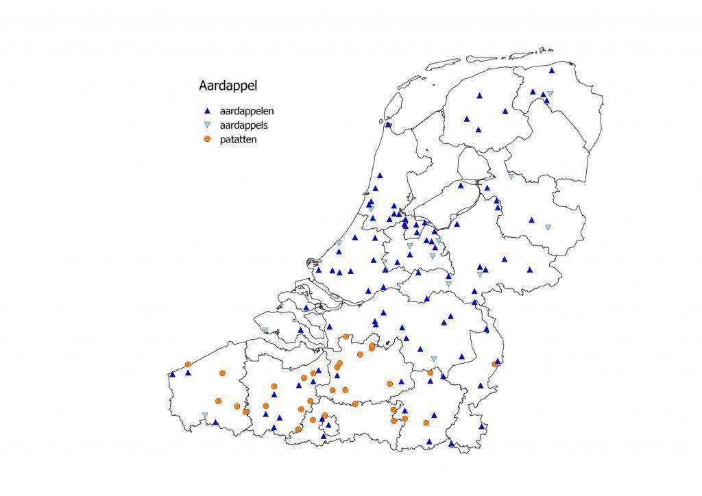 kaart friet patat in België en Nederland