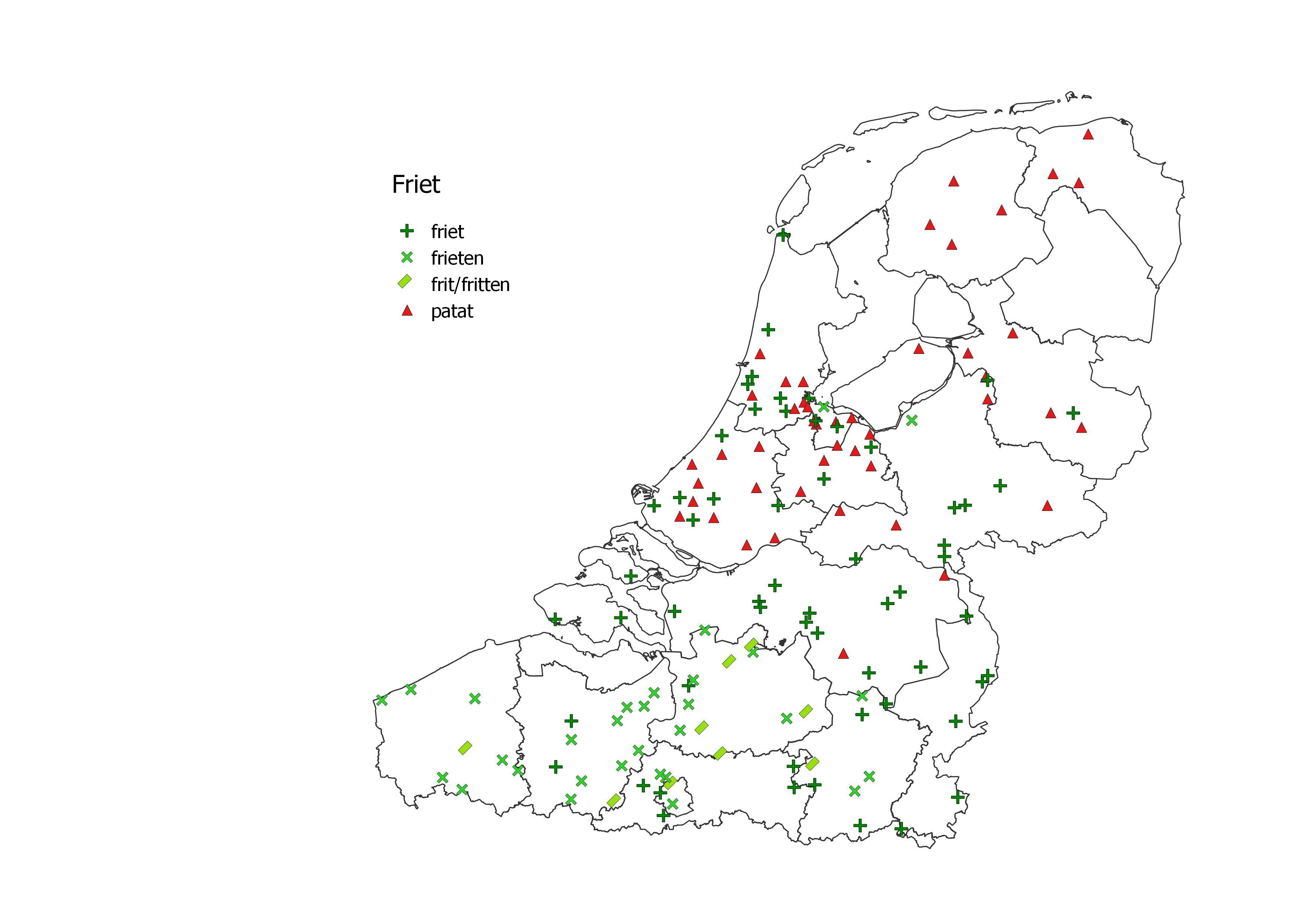 kaart friet patat frieten in België en Nederland