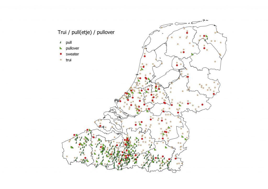 Taalkaart trui (hele taalgebied), pull / pullover (vooral Vlaanderen), sweater (verspreid hele taalgebied)