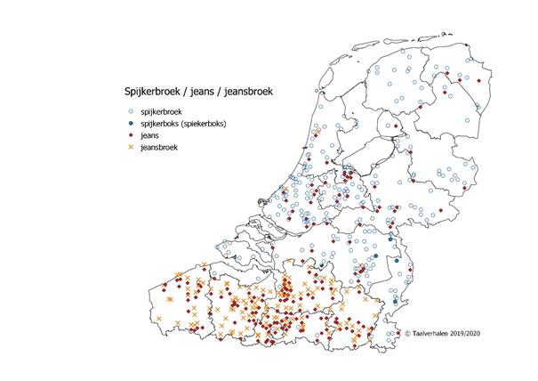 Taalkaart jeans - spijkerbroek - jeansbroek - spijkerboks in het Nederlandse taalgebied