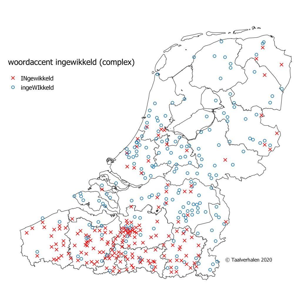 taalkaart over het woordaccent, in 'ingewikkeld' in België en Nederland