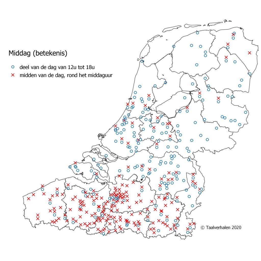 taalkaart met de betekenissen van middag: middaguur (België) of deel van de dag tussen 12 en 18 uur (Nederland)