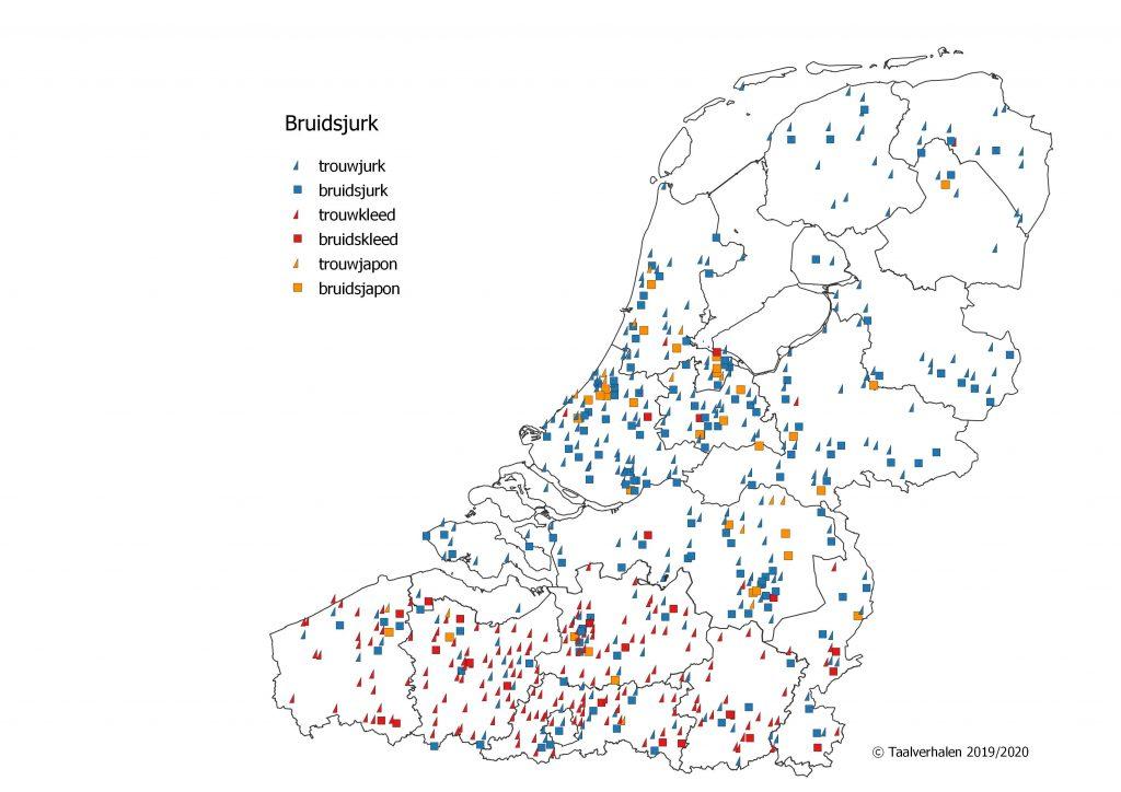 Taalkaart: trouwjurk (hele taalgebied), bruidsjurk (hele taalgebied, wat meer in NL), trouwkleed (Vlaanderen), bruidskleed ( hier en daar Vlaanderen), trouwjapon (zelden, hele taalgebied), bruidsjapon (zelden, hele taalgebied)